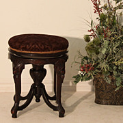 Egyptian Revival Piano Swivel Bench Upholstered in a Raised Velvet Damask Print