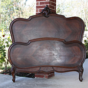 SALE Incredible Antique Louis XV Carved Rosewood Bed Lovely Cartouche Shell Crown