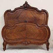 Bookmatched Antique Bed Full Queen Size French Louis XV Carved