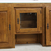 Nice Antique Check Out Counter Buffet Piece With Glass Top and Three Cabinets