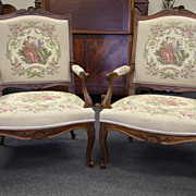 Elegant Pair of Antique Louis XV Arm Chairs Walnut Embroidered Dining Chairs