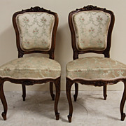 Wonderful Pair of Antique Louis XV Upholstered Side Chairs Intricately Carved