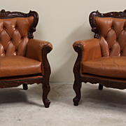 Pair of Antique Button Tufted Leather Upholstered Louis XV Chairs Nicely Carved