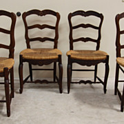 REDUCED Remarkable Antique Set of Four Dining Chairs Ladder Back Louis XV Rush Seat