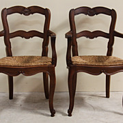 REDUCED Superb Pair of Antique Dining Arm Chairs Woven Rush Seat Ladder Back Beautiful