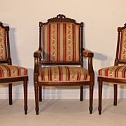 REDUCED Three Louis XVI Style Arm Chairs French Antique Walnut