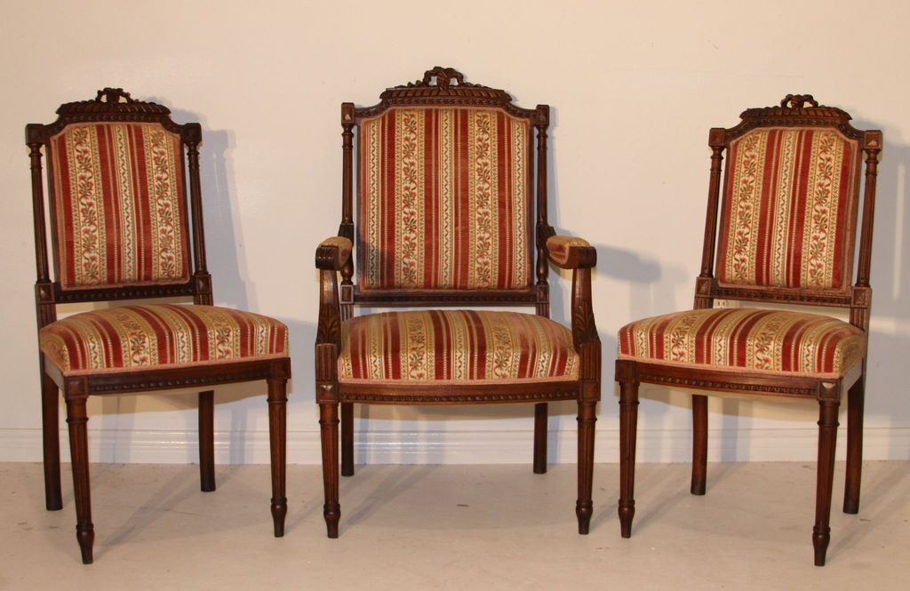 Three Louis XVI Style Arm Chairs French Antique Walnut