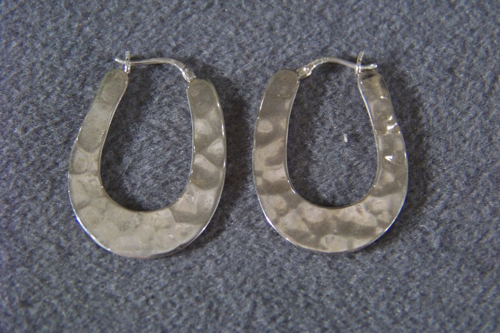 Vintage Sterling Silver Bold Pounded Hoop Pierced Earrings