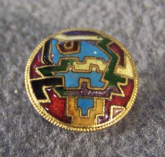 Vintage Champlev Enamel Detailed Fancy French Button