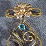 SALE Vintage 12K Rose & Yellow Gold Fill Blue Topaz Floral Pin Brooch