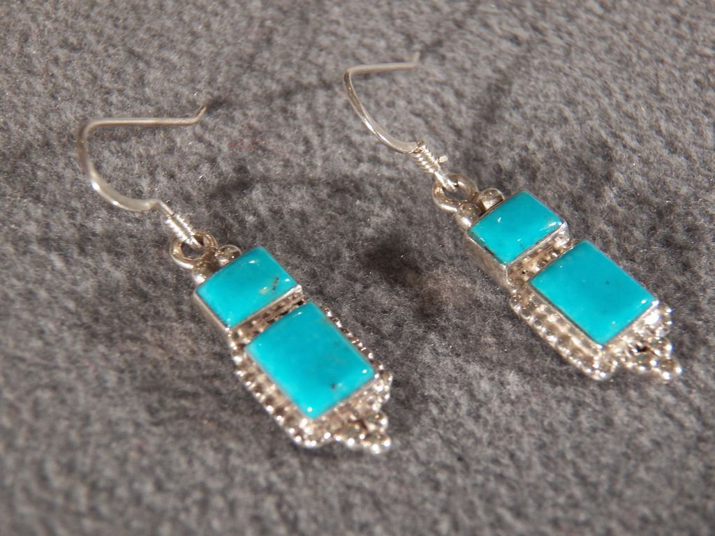 Vintage Sterling Silver Euro wire Earrings with Genuine Turquoise