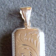 SALE Vintage Silver Fancy Etched Rectangular Locket Pendant