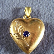 SALE Vintage Sterling 10K gold Blue Topaz Heart Locket Charm