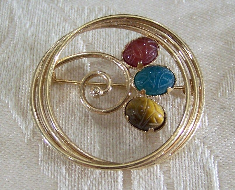 Vintage 12K Gold Filled Scarab  Pin Brooch  Agate  Tiger Eye Carnelian
