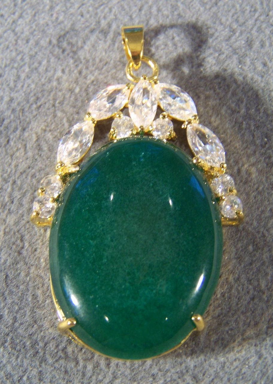 Vintage Sterling Silver 18 K Gold  Overlay Oval Green Jade 12 White Topaz  Bold  Pendant Charm