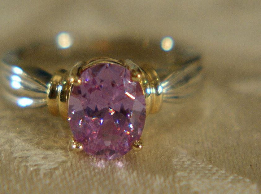 Vintage 14K Gold Amethyst  Fancy  Ribbed Band Ring, Size 5