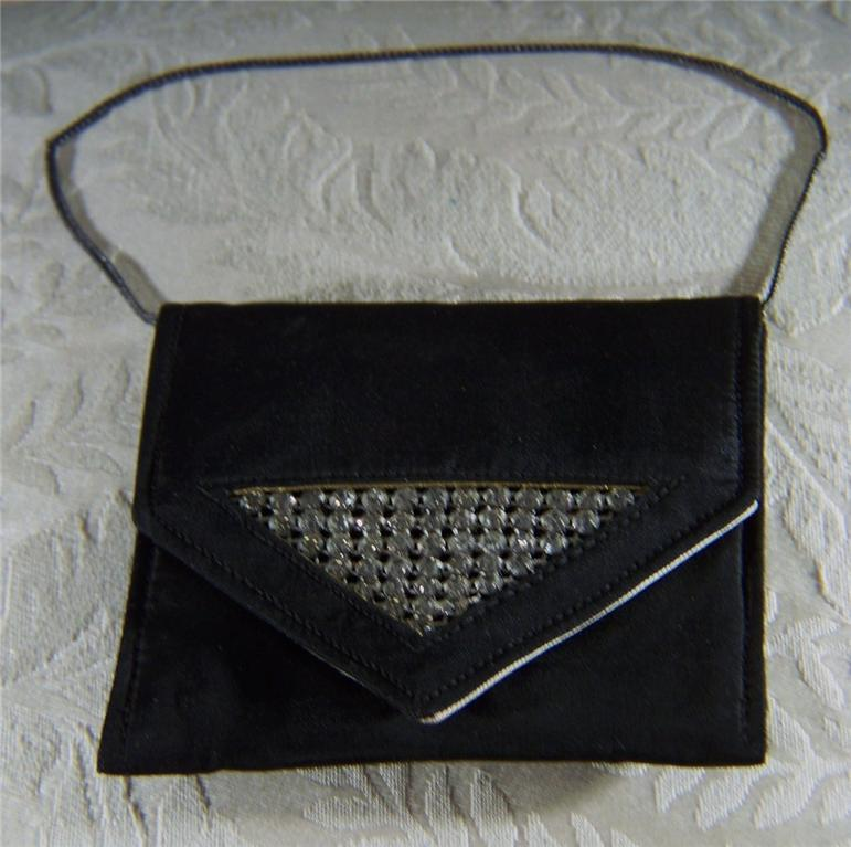 Vintage  Black Satin Rhinestone  Jeweled Purse  Handbag