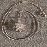 SALE Vintage Sterling Silver with Cubic Zirconia Snowflake Shaped Pendant Necklace