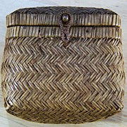 SALE Vintage Unique Tightly Woven Lidded  Hinged Basket