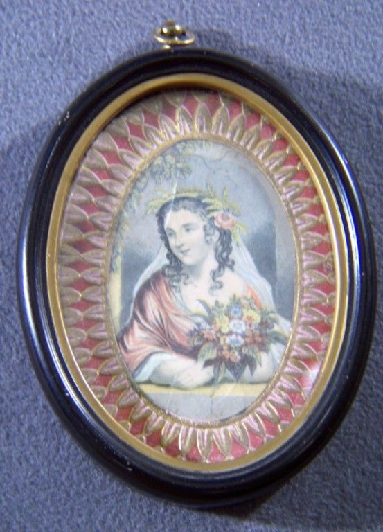 Vintage Brass Wood Oval  Frame Victorian-Style Female Print