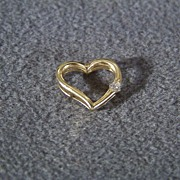 SALE Vintage 14 K Yellow Gold Floating Heart  Pendant Charm Round Cut Diamond