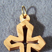 SALE Vintage Wood Bold Danish Modern Cross Pendant Charm
