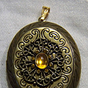 SALE Vintage Gold Tone Amber Fancy Bold Locket Pendant Pin Charm