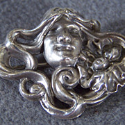 SALE Vintage  Sterling Silver Fancy Figural Pin Brooch