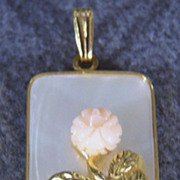 SALE Vintage Mother of Pearl Carved Rose Coral Pendant Charm