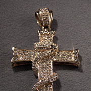 SALE Vintage  Yellow Gold Tone Fancy  All Round Rhinestone Cross Pendant Charm