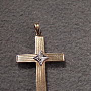 SALE Vintage  10 K Yellow Gold  Round Diamond Fancy Etched Cross Pendant Charm