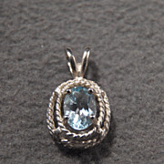 SALE Vintage Sterling Silver Enchanting Genuine Blue Topaz Pendant~~