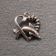SALE Vintage Sterling Silver Dolphin Heart Inspired Darling Charm / Pendant~~