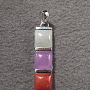 SALE Vintage Sterling Silver Ultra Stylish Genuine Multi Gem Pendant, So Neat~~