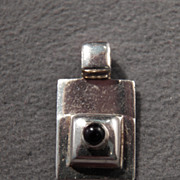 SALE Vintage Sterling Silver Sophisticated Genuine Black Onyx Pendant~~