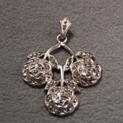 SALE Vintage Sterling Silver & Marcasite Rose Design Pendant, So Sensational!~~