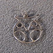 SALE Vintage Sterling Silver Open Work Handcrafted OWL Design Pendant, So Adorable!~~