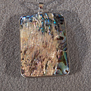 SALE Vintage Stainless Steele Large Rectangle Abalone Pendant Charm