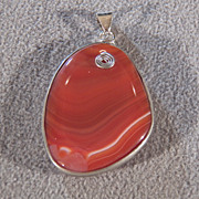 SALE Vintage  Stainless Steele  Large Oval Carnelian Agate Fancy Pendant Charm