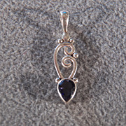 SALE Vintage Sterling Silver & Genuine Iolite Pendant, A Glorious Design!~~