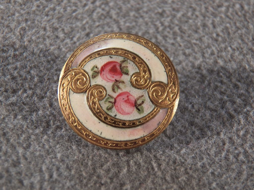 Vintage Fancy French Champleve Enameled Button