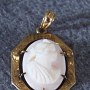 SALE Vintage 10K Gold Cameo Cultured Pearl Fancy Pendant lavaliere