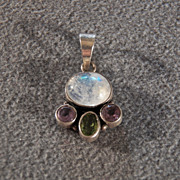 SALE Vintage Sterling Silver 5 Grams Genuine Amethyst, Peridot & Moonstone Pendant, A Delightf