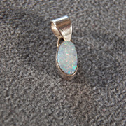 SALE Vintage Sterling Silver 3 Grams Genuine Opal Pendant Charm, A Charming Sweet Design!~~