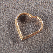 SALE Vintage 14 K Yellow Gold Floating  Fancy Etched Heart Pendant Charm