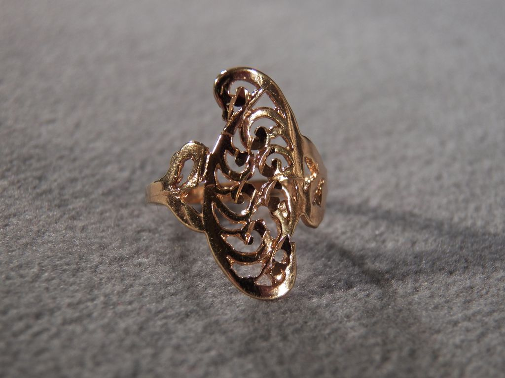 Vintage Sterling Silver Yellow Gold Over Lay Fancy Etched Scrolled Filigree Band Ring, Size 7