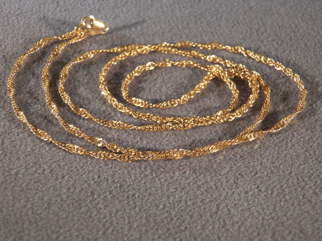 Vintage Italian Sterling Silver Yellow Gold Over Lay Rolled Etched Link Necklace Chain 34 ""