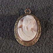 SALE Vintage 10 K Yellow Gold Oval Fancy Carved Angel Skin Cameo Pendant Charm