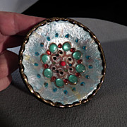 SALE Vintage Multi Colored Enameled Glass Bead Unique Bowl Dish