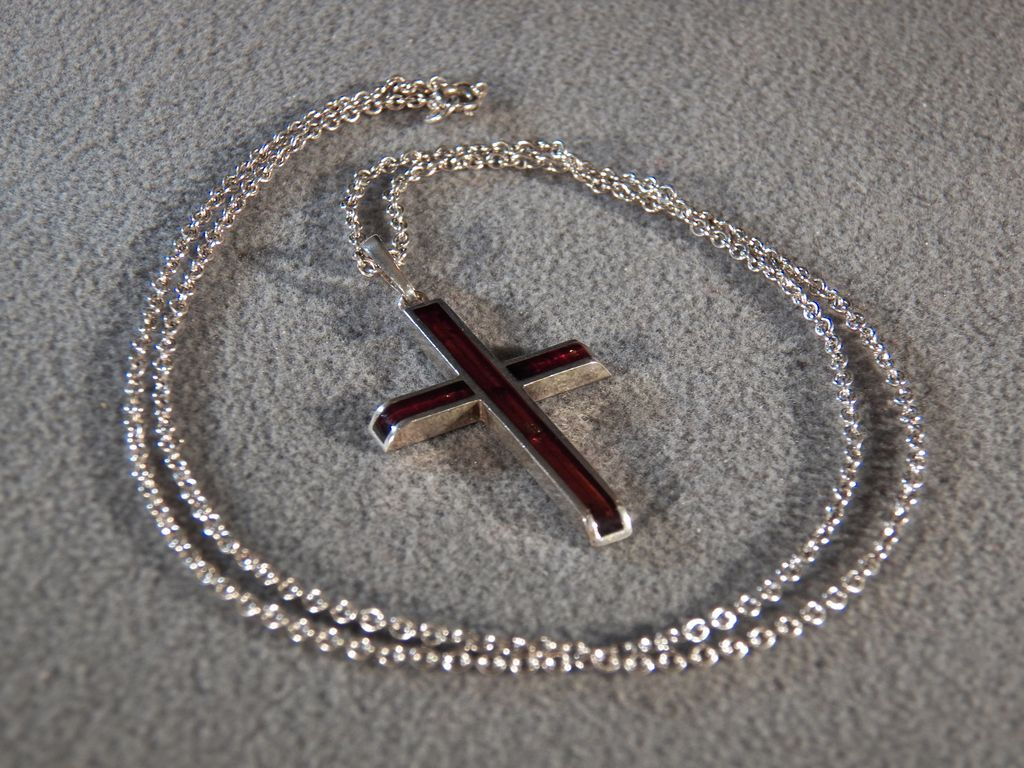 Vintage Sterling Silver  Enameled Fancy Cross Pendant Charm Necklace Chain